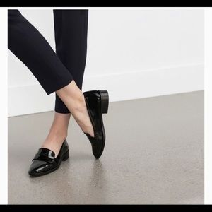 On Hold - Zara Black Patent Leather Penny Loafers